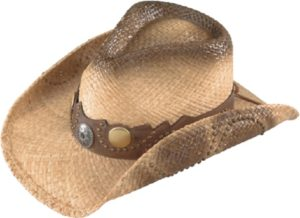 "No. 3229-43""Australian"" Raffia Straw w/ Scalloped Band, Stud"