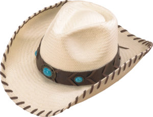 No. 3234-74Flexible Straw with Laced Brim, Turq Concho