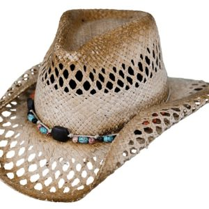 No. 15065Mesquite Raffia Straw Hat, Tea Color