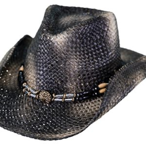 No. 15088Black Powder Morocca Straw Hat, Black Color