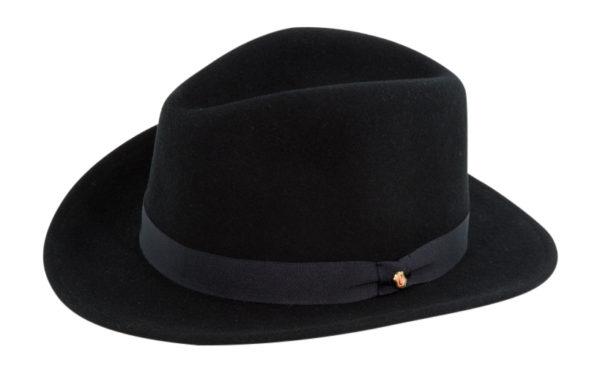 The Sutton Black Wool Felt Fedora By Cardenas Hats