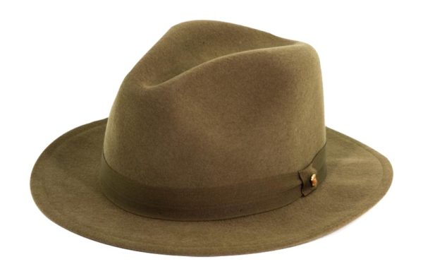 The Sutton Olive Green Wool Felt Fedora By Cardenas Hats