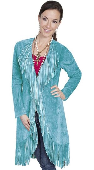 No. L19 Fringe Coat Boar Suede Turqoise By Scully