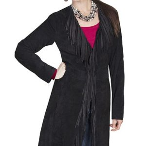 No. L19 Fringe Coat Boar Suede Black By Scully