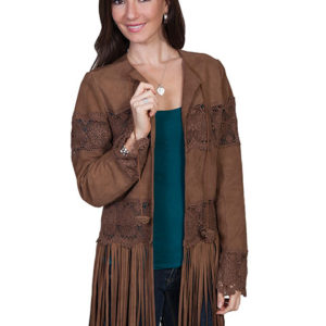 No. L124 Lamb Suede Coat with Long Fringe, Brown