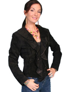 No. L127 Ruffle Trim Jacket Boar Suede, Black by Scully Leather