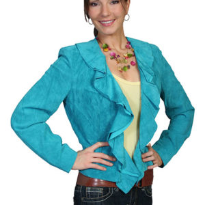 No. L127 Ruffle Trim Jacket Boar Suede, Turquoise