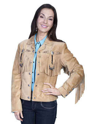 No. L152 Beaded Fringe Jacket, Color Old Rust By Scully Leather