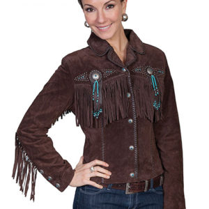 No. L152 Beaded Fringe Jacket, Color Chocolate By Scully Leather