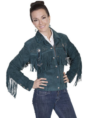 No. L152 Beaded Fringe Jacket, Color Teal By Scully Leather