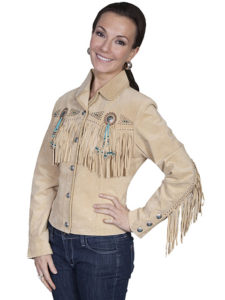 No. L152 Beaded Fringe Jacket, Color Chamois By Scully Leather