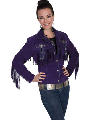 No. L152 Beaded Fringe Jacket, Color Eggplant By Scully Leather