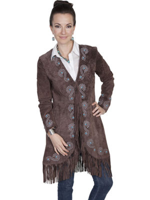 No. L165 Long Fringe Embroidered Coat Boar Suede. Espresso