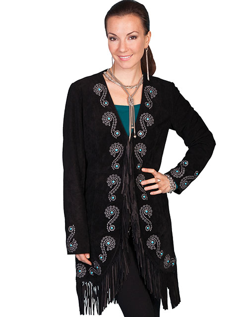 No. L165 Long Fringe Embroidered Coat Boar Suede. Black