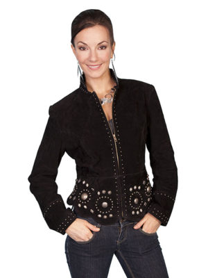 No. L191 Suede Concho Jacket Boar Suede, Color Black