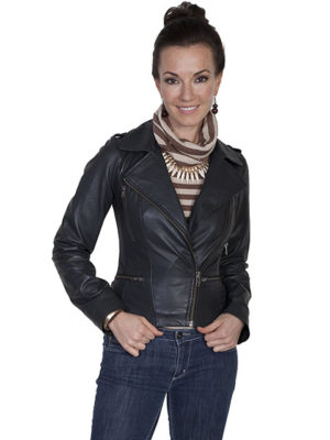 No. L249 Motorcycle Jacket, Lamb Suede, Color: Black