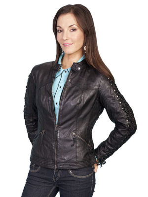 No. L411 Laced Sleeve Jacket, Color Black