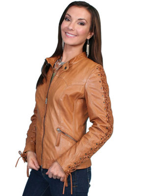 No. L411 Laced Sleeve Jacket, Color Saddle Tan