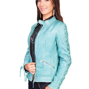 No. L411 Laced Sleeve Jacket, Color River Blue