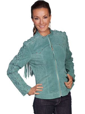 No. L658 Laced Sleeves W/Stud Trim & Fringe. Black or Turquoise