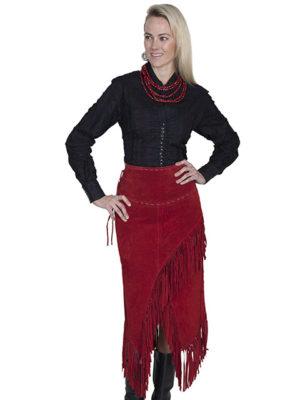 No. L659 Long Fringe Skirt, Boar suede. Color: RED