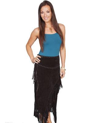 No. L659 Long Fringe Skirt, Boar suede. Color: BLACK