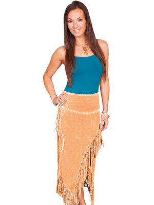 No. L659 Long Fringe Skirt, Boar suede. Color: OLD RUST