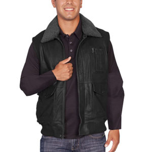 No. 67 Leather Vest W/ Shearing Collar, Buffed Color: #25 Black