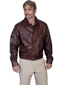 No. 107 Lamb Leather Jean Jakcket, Color: #34 Chestnut