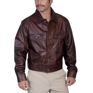 No. 107 Lamb Leather Jean Jakcket, Color: #34 Chestnut