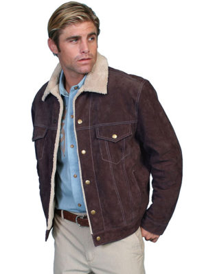 No. 113 Boar Suede Jean Jacket, Color: #86 Chocolate