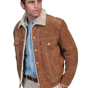 No. 113 Boar Suede Jean Jacket, Color: #125 Cafe Brown