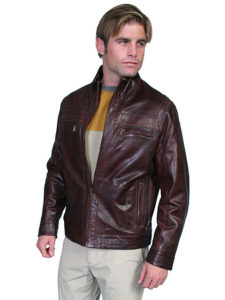 No. 117 Leather Jacket Lamb, Color: #34 Chestnut