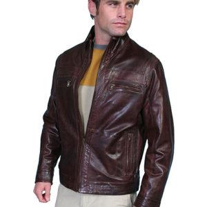 No. 117 Leather Jacket Lamb, Color: #34 Chestnut