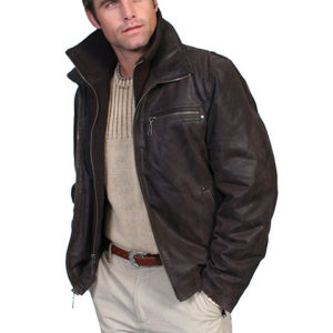 No. 400 Jacket W/ Zip out knit Front & Collar, Color #63 Brown