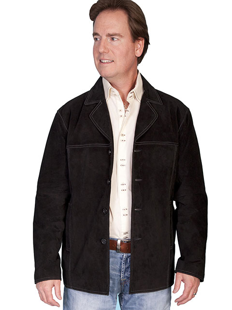 No. 975 Car coat Boar Suede Leather, Color: #19 Black