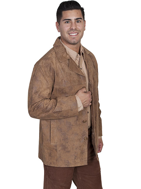 No. 975 Car coat Boar Suede Leather, Color: #221 Maple