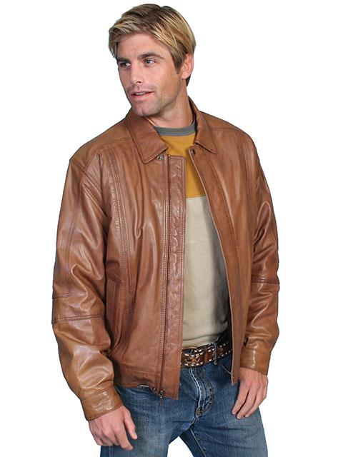 No. 978 Leather Jacket, Premium Lamb, Color: Cognac