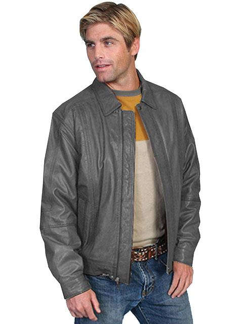 No. 978 Leather Jacket, Premium Lamb, Color: #274 Gray