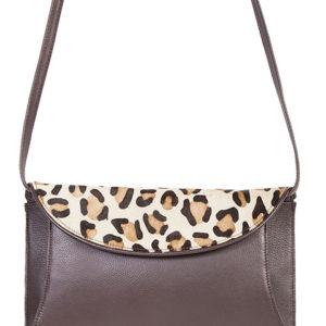 B63 Leather Handbag with Cheetah Flap, Color: Brown