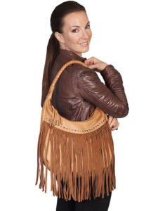 No. 71 Leather Handbag with Studs and Fringe, Color: Tan