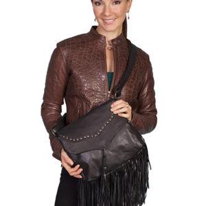B73 Leather Handbag Studded Flap with Fringe, Color: Black
