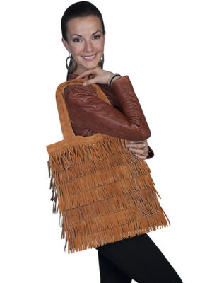 No. B81 Suede Fringe Handbag with Magnetic Snap Closure. Tan