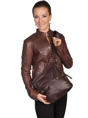 B86-25 Leather Handbag with Stud Detail, Color: Brown or Black
