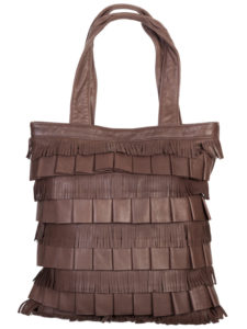 B-85 Leather Handbag with Fringe, Color: Brown