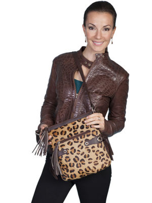 No. B87 Animal Print Handbag with Stud and Tassel Detail, Cheeta