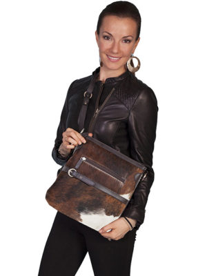 No. 92 Hair on Calf Leather Handbag W/ Top Zip Closure, Brown