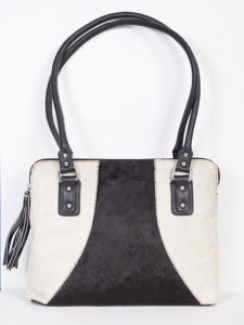 No. B104 Leather Handbag W/ Tassel, Color: Black & White