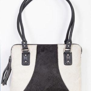 No. B104 Leather Handbag W/ Tassel, Color: Black & White