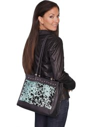 No. B102 Hair on Calf Leather Handbag, Color: Black/Turq